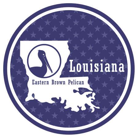 Carte de l'état de la Louisiane avec pélican brun de l'Est Vecteurs