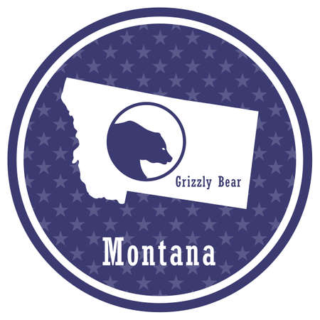 montana state map with grizzly bear Illustration