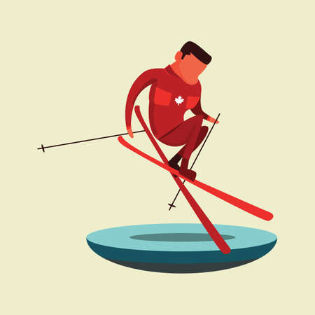 Een man skià «n illustratie.