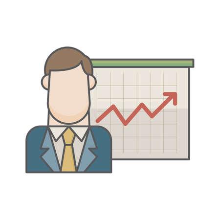 businessman and graph chart Ilustração