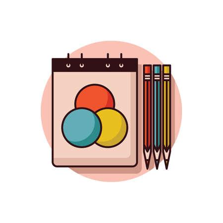 鉛筆とメモ帳  イラスト・ベクター素材