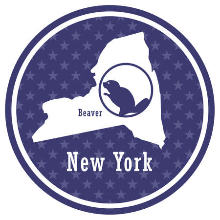 new york state map with beaver