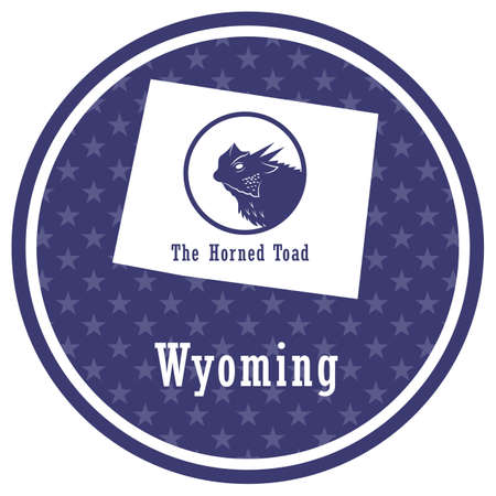 wyoming state map with the horned toad