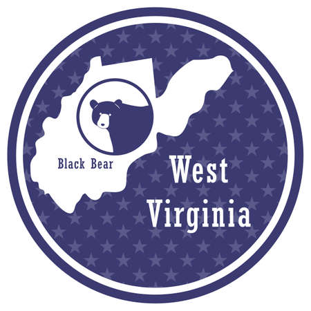 west virginia state map with black bear