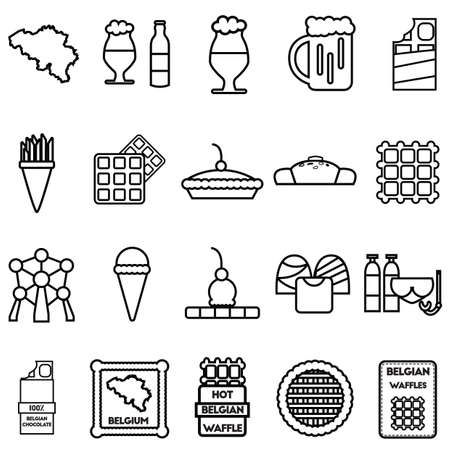 Ensemble d'icônes belges Banque d'images - 81534709