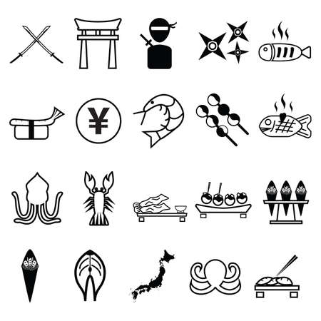 A collection of japanese icons illustration.