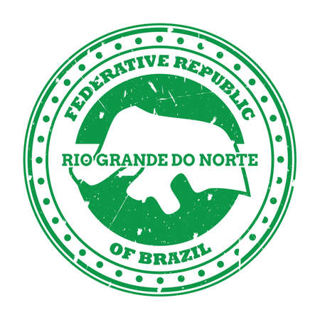 rio grande do norte map stamp 向量圖像
