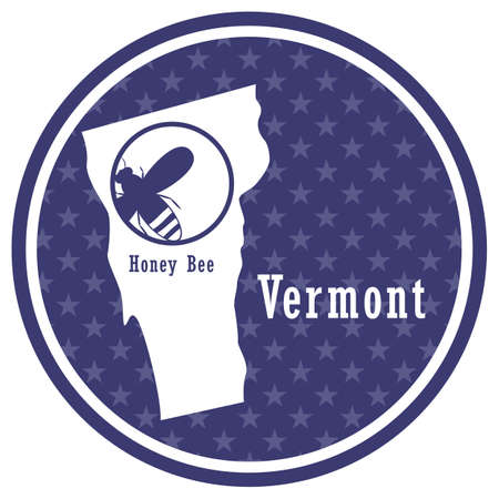vermont state map with honey bee