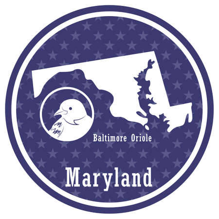 maryland state map with baltimore oriole