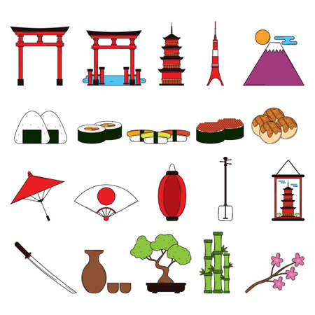 Collection of Japanese icons Иллюстрация