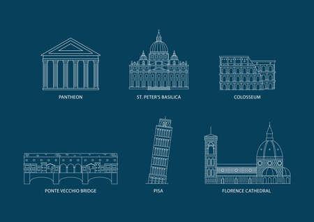 verzameling van Italië monumenten Stock Illustratie