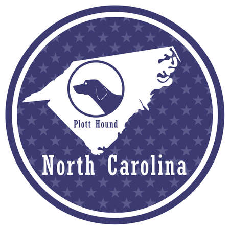 north carolina state map with plott hound