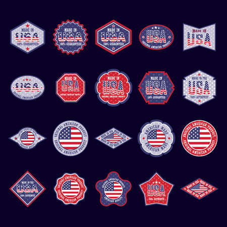 collection of usa product stickers
