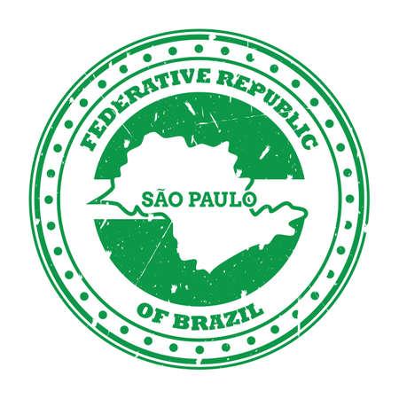 sao paulo map stamp Ilustração