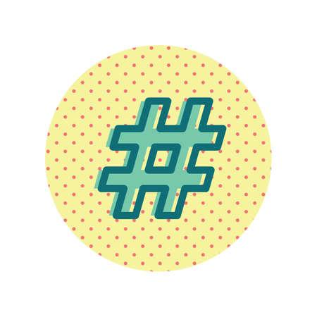 A hashtag icon illustration.
