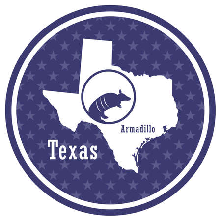 texas state map with armadillo