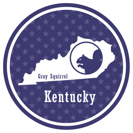 kentucky state map with gray squirrel