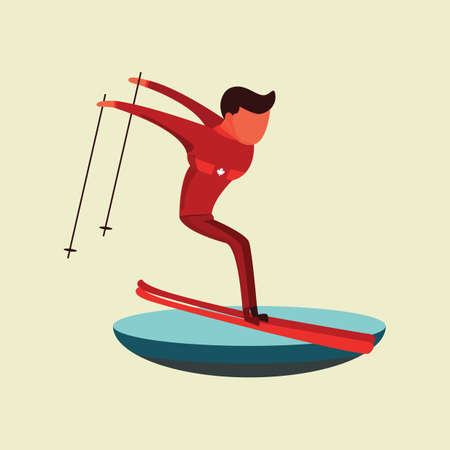 A man skiing illustration. Stock fotó - 81484696
