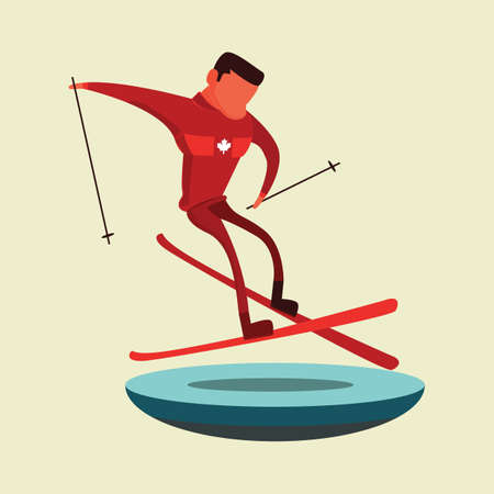 男のスキーのイラスト。