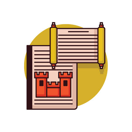 Storybook with scroll Иллюстрация