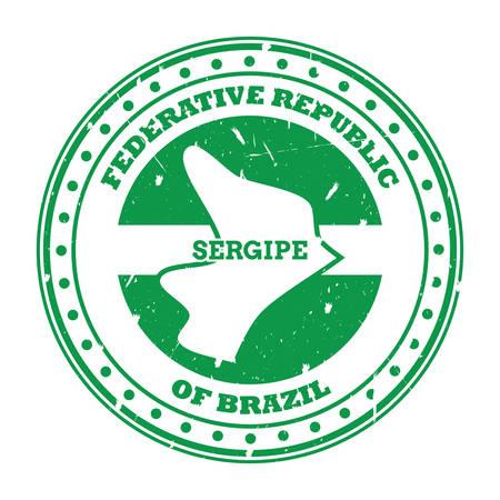 sergipe map stamp Illustration