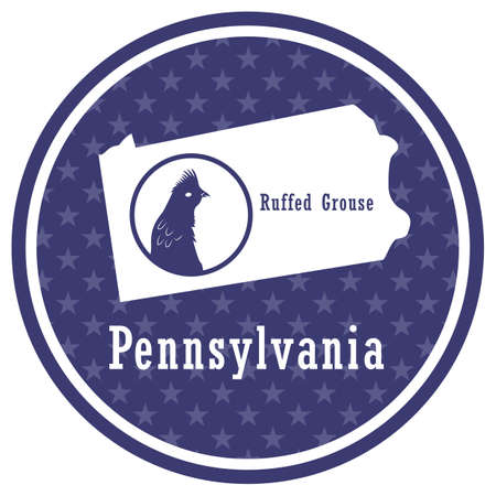 pennsylvania state map with ruffed grouse Illustration