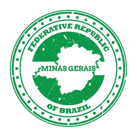 minas gerais map stamp