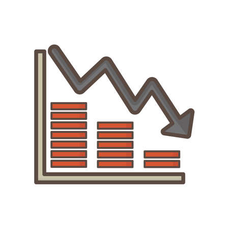 Bar graph with arrow going down Illustration