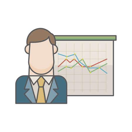 businessman and graph chart Ilustracja