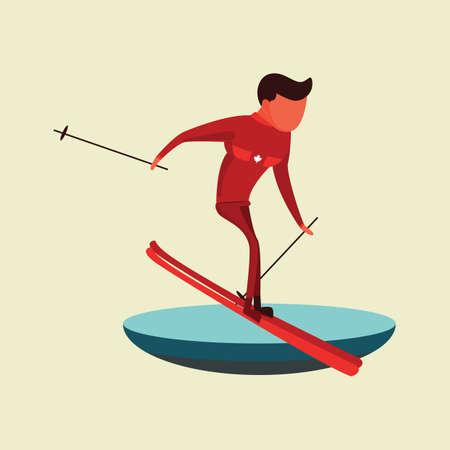 Man skiën Stock Illustratie