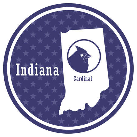 indiana state map with cardinal Illustration
