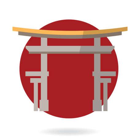japan temple Illusztráció