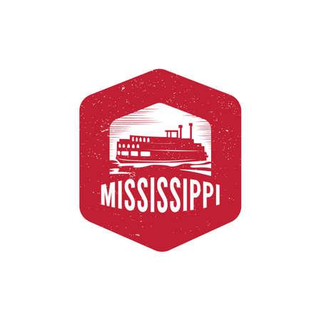 ミシシッピ川のボート  イラスト・ベクター素材