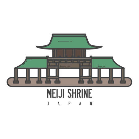 A meiji shrine illustration.