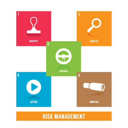collection of risk management icons Illustration