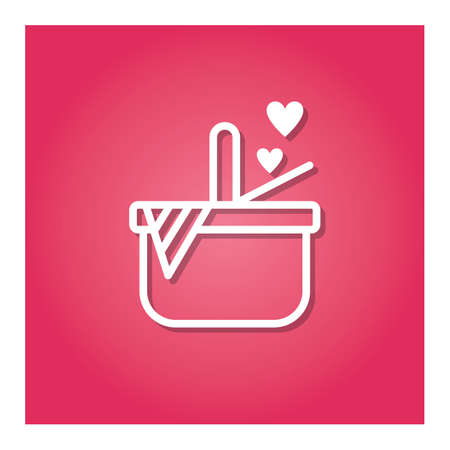 basket with hearts Ilustração