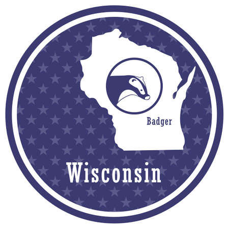 wisconsin state map with badger Illustration