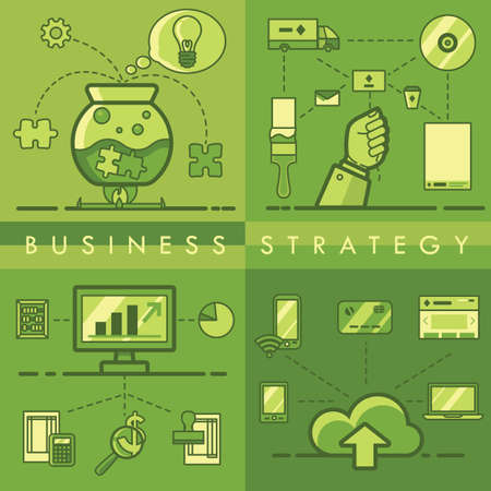 Collection of business strategy concept Illustration