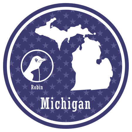 michigan state map with robin