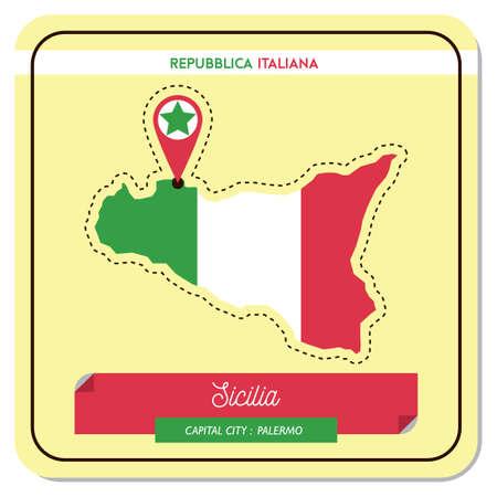 sicilia map Illustration