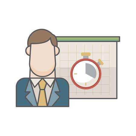 businessman and timer Ilustração