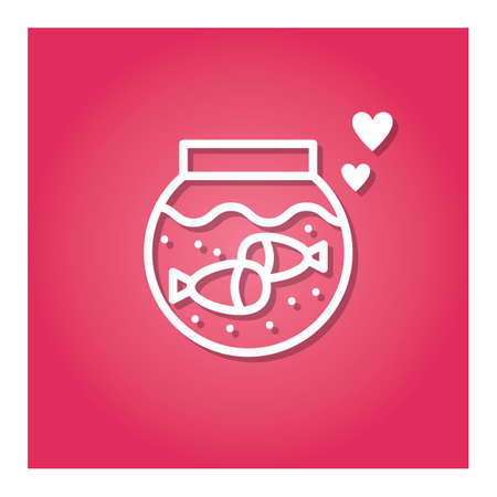 fish pot with hearts Ilustração