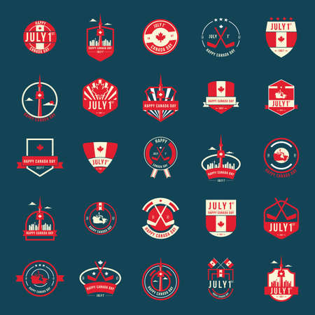 Collection of happy canada day labels