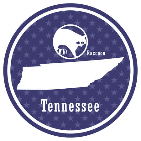 tennessee state map with raccoon Illustration
