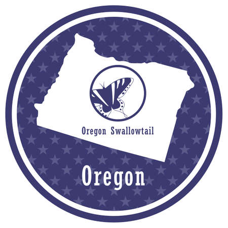 oregon state map with oregon swallowtail