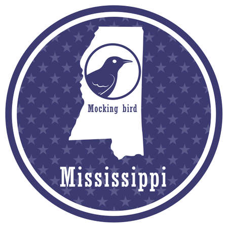mississippi state map with mockingbird