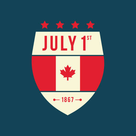 happy canada day label Ilustrace