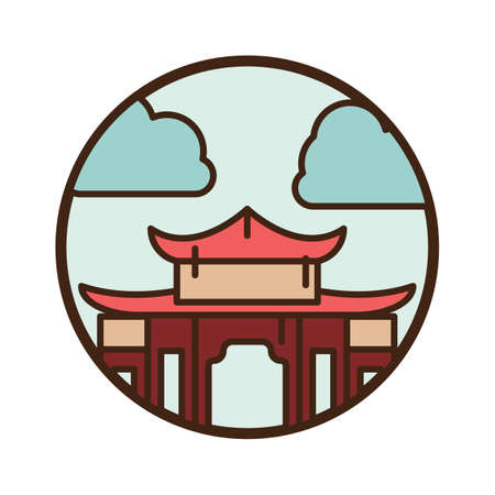 日本の建築  イラスト・ベクター素材