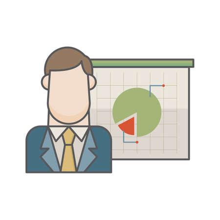 ビジネスマンおよび円グラフ