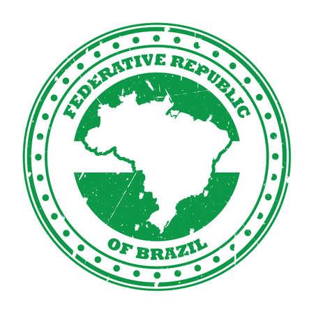 brazil map stamp Illustration